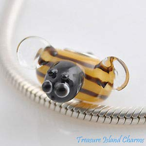 Harissa Honey BEE LAMPWORK Murano Glass 925 Sterling Silver European Euro Bead Charm Crafting, Bracelet Necklace Jewelry Findings Jewelry Making Accessory