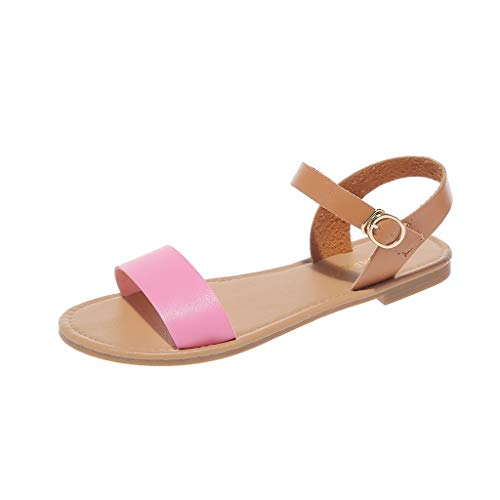 (♡QueenBB♡ Women's Soft Faux Leather Open Toe and Ankle Strap Buckle Flat Sandals Simple Basic Shoes Hot Pink)