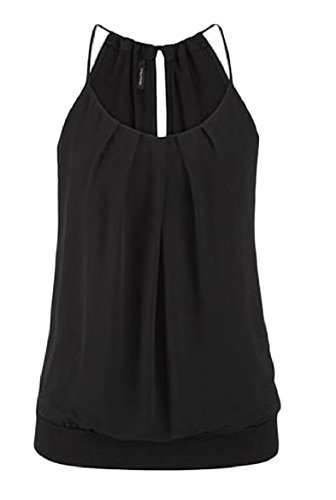 長老精神ロデオTootess Women Slim Fit Strappy Solid Color Frill Vest Tank Top Shirt