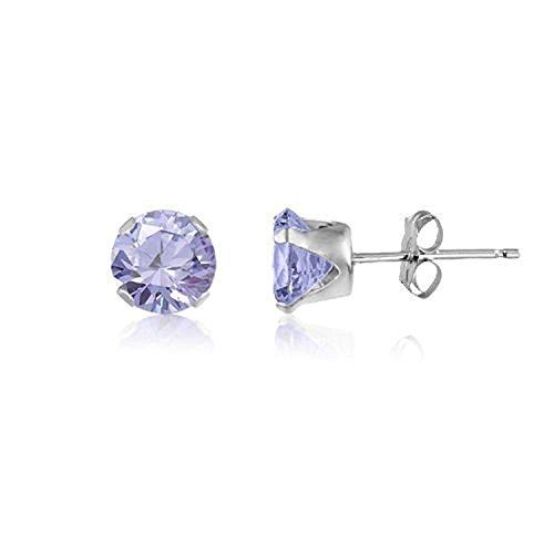(6MM Classic Brilliant Round Cut CZ Sterling Silver Stud Earrings - LAVENDER. 6-LAVE)