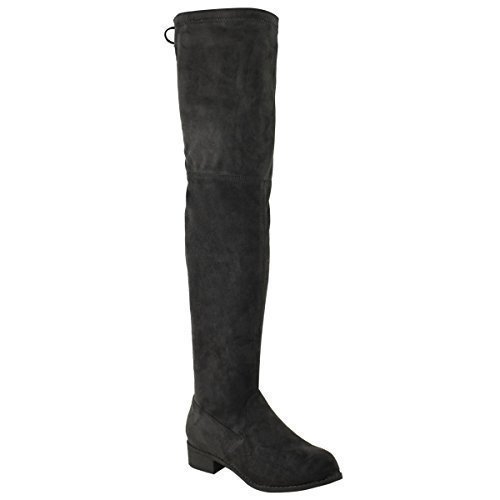Womens The Fashion Thigh Over Boots Black Size High Riding Suede Low Knee Faux Stretch Thirsty Heel Ladies 788w0rq5xX