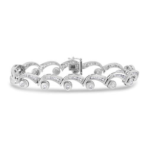 1.49 Ct. Natural Diamond Wave Bracelet Custom Designed in Solid 14k White Gold