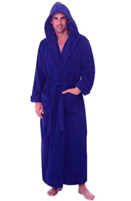 Royal Blue Hooded Terry Bathrobe 100% Cotton 50 Inches Long