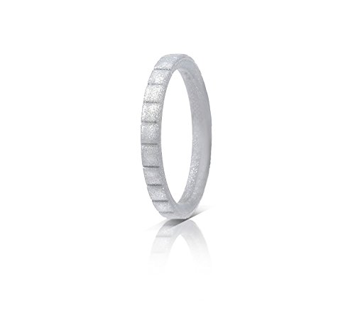 - ROQ Silicone Wedding Ring for Women, Single Thin Stackable Silicone Rubber Wedding Bands Lines - Silver - Size 8