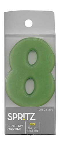 Spritz Molded # 8 Birthday Candle (1 Count) (Green)