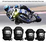 4PCS Motorcycle Elbow and Knee Pads, Keenso Motorcycle Elbow Knee Shin Protector Guard Armors Set Black ATV Motocross Knee Protector Guard for Motocross Cycling, Mountain Biking, Skateboard, Scooter