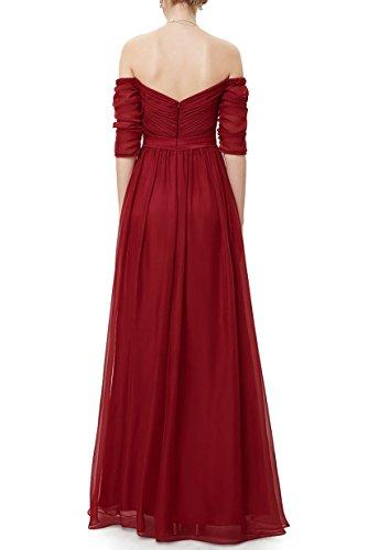 Dkbridal De L'épaule Froncé Robes De Soirée Robe De Soirée De Mariage En Mousseline De Soie À Manches Longues Violet
