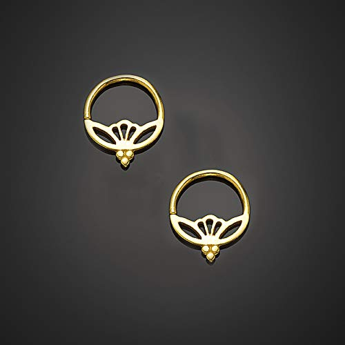 Small Lotus Hoop Earrings, 24K Gold Plated Silver Unique Tiny Earrings, Boho Indian Style, Fits Second & Third Hole, Handmade Statement Jewelry ()