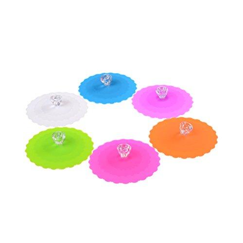 LONG7INES Food Grade Reusable Creative Diamond Silicone Cup Cover - Anti-dust, Airtight Seal