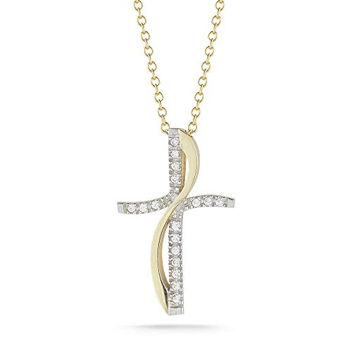 I REISS 14K Yellow Gold 0.11ct TDW Diamond Accent Cross and Flame Pendant Necklace ()