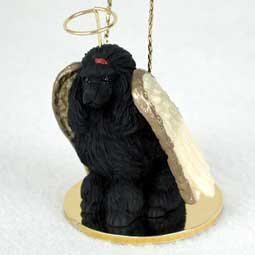 Poodle Angel Dog Ornament - Black