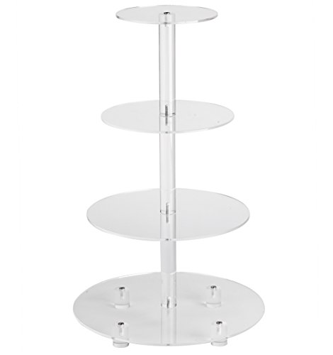 YestBuy 4 Tier Clear Round Wedding Party Acrylic Cupcake Display Tree Tower Stand 1 Unit (20 Inches)
