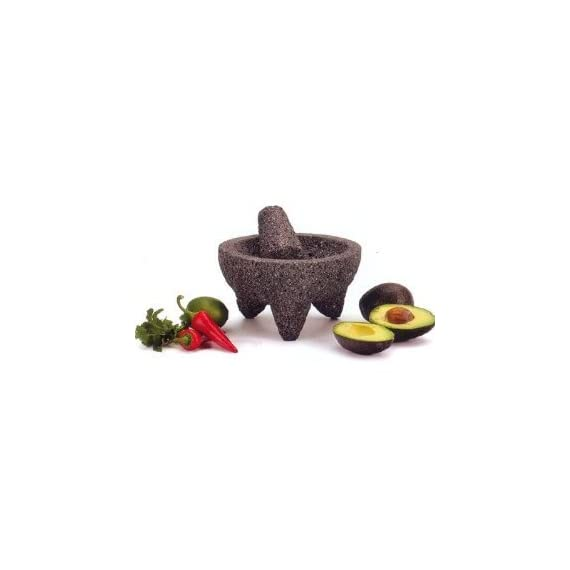 RSVP Authentic Mexican Molcajete 1 Traditional Mexican version of the mortar, carved of natural volcanic stone Provides the ideal grinding surface for spices or making delicious fresh guacamole Molcajete measures 8-1/2-inch diameter by 5-inches tall; tejolote is 4-1/2-inches long with a 2-1/2-inch diameter grinding end