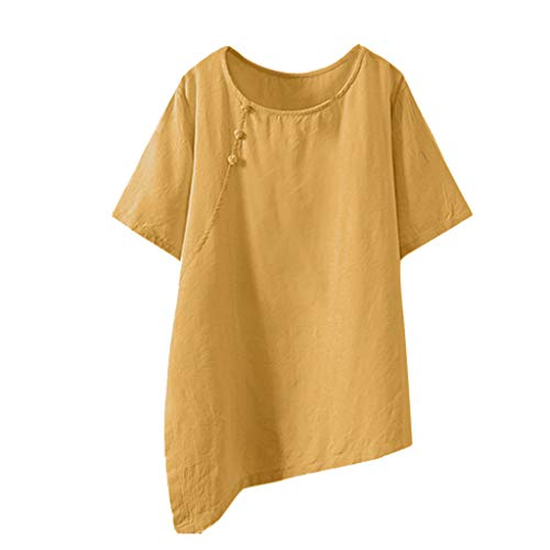 (HEJANG Women's Summer Casual Printing Tops Cotton and Linen Button Blouse Loose Large Size T-Shirt (L, Yellow1))