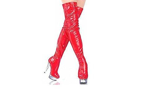 Top Totty Frauen 17cm hohe dünne Fersen Rot plus Größe über Knie lange Stilettschenkels hohe Stiefel sexy clubbing pole dancing Stiefel