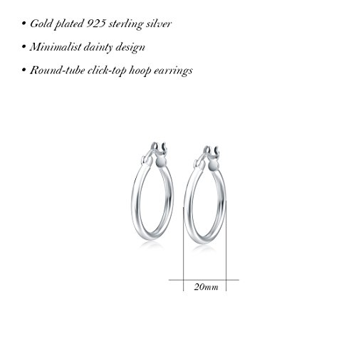 Carleen 14K White Gold Plated 925 Sterling Silver Dainty Round-Tube Click-Top Hoop Earrings for Women Girls (Diameter 20mm) by Carleen (Image #3)