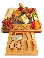 e Board and Cutlery Set with Slate Centerpiece, Wood Charcuterie Platter, Serving Meat Board with Slide-Out Drawer with 4 Stainless Steel Knife and Server Set ()