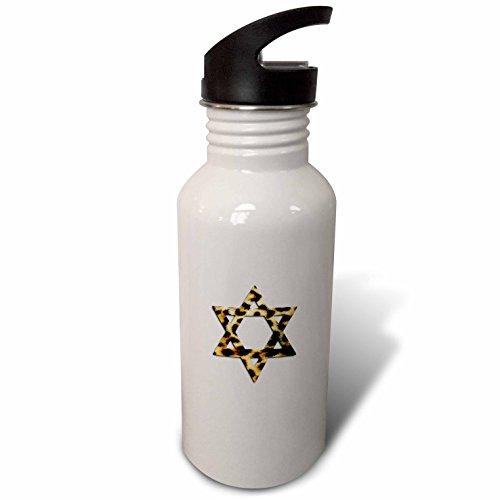 3dRose InspirationzStore Judaica - Star of David in Faux Leopard Print Pattern. Funky Cheetah Magen David - Flip Straw 21oz Water Bottle (wb_185509_2) -