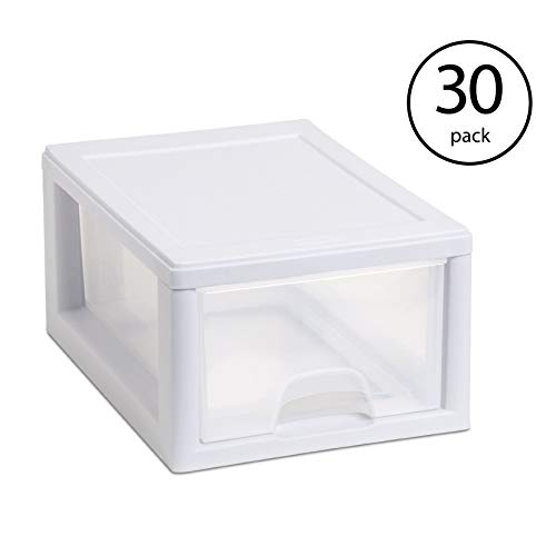See Through Drawers - Sterilite 20518006 Stackable Small Drawer White Frame & See-Through (30 Pack)