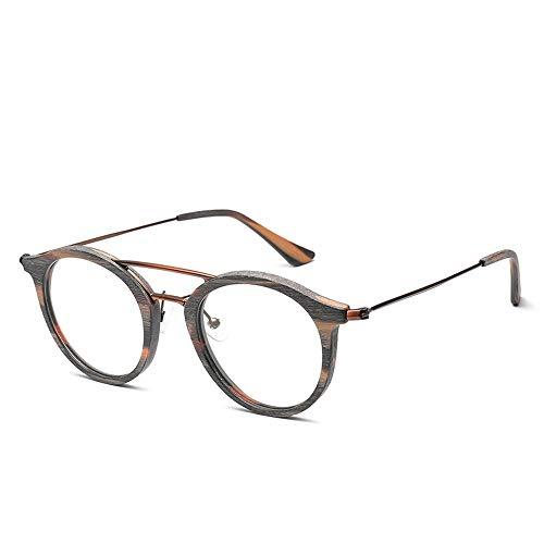 Sunglass Fashion Round Frame Mens and Womens Eyeglasses Wood Grain Plain Glasses Vintage Plain Glasses (Color : Brown, Size : Free)