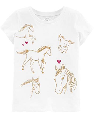 Carter's Girls' Short Sleeve Summer Tees (Ivory/Glitter Horses, 6-6x)