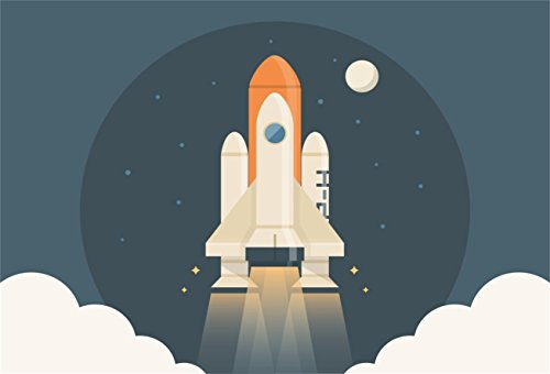 (AOFOTO 7x5ft Abstract Rocket Launch Backdrops Cartoon Spacecraft Photo Shoot Background Space Capsule Spaceship Photography Studio Props Child Kid Boy Girl Artistic Portrait Digital Video Drop Vinyl)