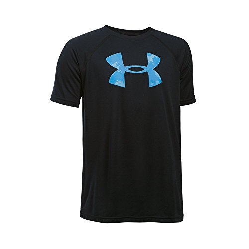Under Armour Boys' Tech Big Logo Short Sleeve T-Shirt, Black/Carolina Blue, Youth Small