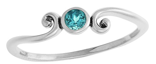 Boma Sterling Silver Round Blue Topaz Ring with Scrolling Side Detail - Size (Blue Topaz Ring Free Ship)