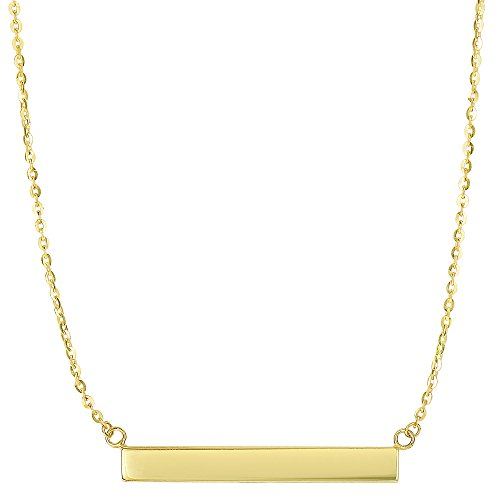 Engravable Gold Pendants - 14k Yellow Gold Engravable Bar Sideways Pendant On 18