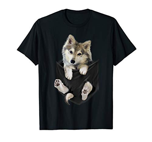 (Wolf White Pup in Pocket T-Shirt Wolves Tee Shirt Gifts)