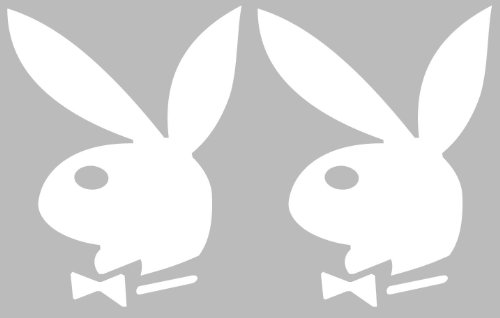 2 Playboy Bunny Logo Vinyl Decal Sticker Auto Car White