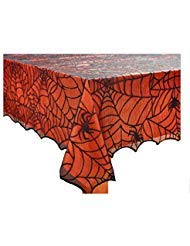 Halloween Spooky Spider Web Black Lace Tablecloth with Orange Liner (60 x 102 -