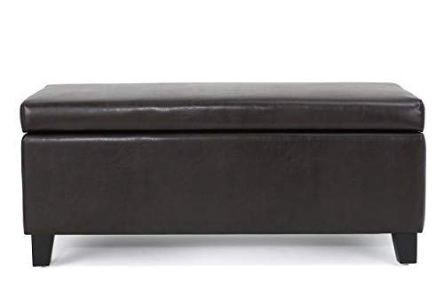 Christopher Knight Home 300169 Living Mataeo Espresso Brown Leather Storage Ottoman,