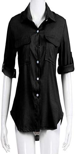 Xinantime Camisas de Manga Larga Mujer, Camisa de Lino de Algodón ...