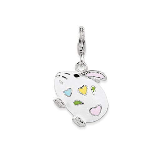 Enamel Rabbit Charm (Sterling Silver and Enamel Bunny Rabbit Charm with Lobster Clasp)