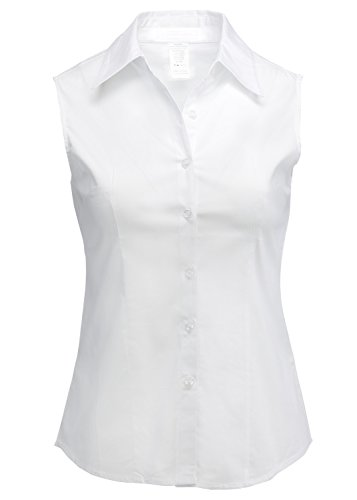 LA2NY Womens Sleeveless Button Down Shirt with Stretch (S-3XL) (X-Large, White) Button Down Sleeveless