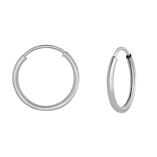 14k White Gold Round Endless Hoop Earrings - 10-18mm