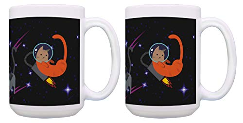 Cat Lover Gifts Astronaut Cat Novelty Mugs Jetpack Mug Set 2 Pack 15-oz Coffee Mugs Tea Cups Multi]()