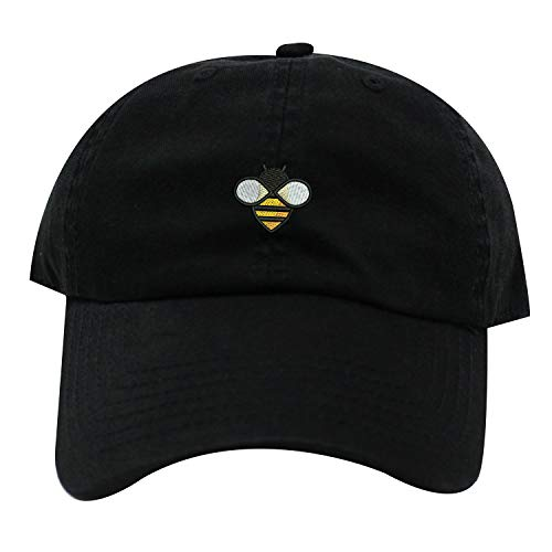 (INK STITCH Bee Embroidered Logo Unstructured Baseball Caps - 21 Colors (Black) )