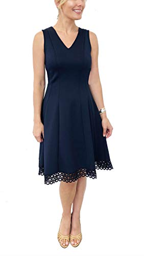 Donna V-neck - Donna Ricco Women's V-Neck Circle Lace Fit and Flare Dress, Spring Navy, 12