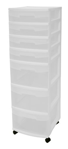 Sterilite 28348002 7-Drawer Cart White with See-Through Drawers and Black Casters 2-Pack
