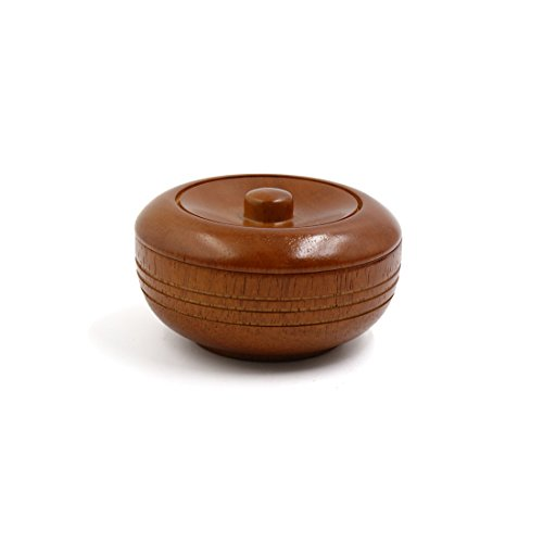 uxcell Shaving Soap Bowl Brown Wooden Mug Cup Solid Beard Wet Shaving Container With Lid Classic Shave Tool Kit Gift for - Bowl Wooden Shave