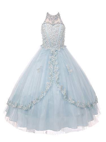 Cinderella Couture Big Girls Blue Dazzling Rhinestone Pearls Halter Neck Pageant Dress 10