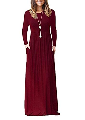 Drape Solid Party Long Pocket Dress Coolred Club Wine Colored Women with Leisure Red 5XUwYax