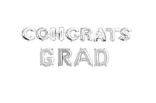CONGRATS GRAD Foil Letter Balloons 3D Banner graduation CEREMONY (SILVER)