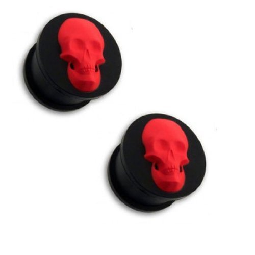 BodyJ4You Tunnel 0G 8mm Black with Red Skull Silicone Flexible Plug with Skull Tunnel Double Flare Plugs 2 (Red Silicone Double Flare)