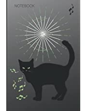 NOTEBOOK: BLACK CAT, MOON PHASES AND MUSICAL NOTES