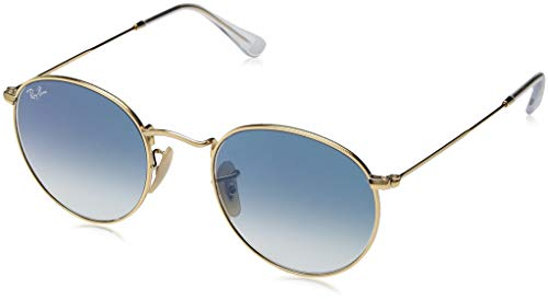 Ray-Ban RB3447N Round Flat Lenses Metal Sunglasses, Gold/Blue Gradient, 50 mm (Blue Gradient Ray-bans)