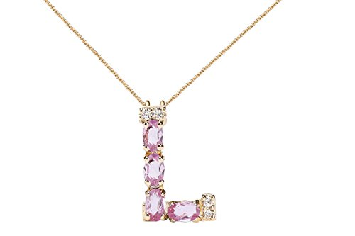 (Albert Hern Pink Sapphire Necklace with Diamonds & 18K Gold Chain   Irresistible Sapphire Letter L Pendant Jewelry   Perfect Valentine's Day, Anniversary & Birthday Gift)