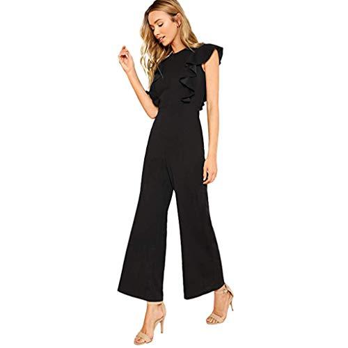 (UONQD Pants Women Sexy Casual Sleeveless Ruffles Trim Wide Leg High Waist Long Jumpsuit Black)
